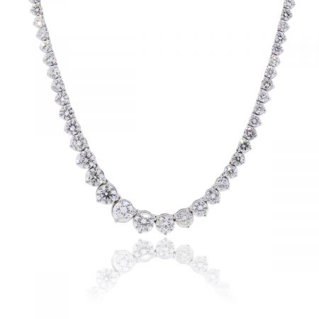 Platinum 34.10ctw Large Graduated Diamond Tennis Necklace
