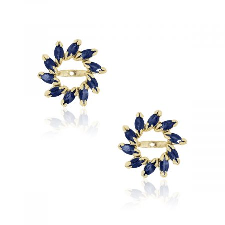 14k Yellow Gold 1ctw Marquise Sapphire Earring Jackets