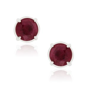 14k White Gold 1.75ctw Round Ruby Stud Earrings