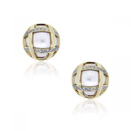14k Yellow Gold Pearl 0.50ctw Diamond Button Earrings