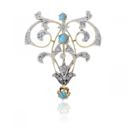 14k Two Tone Gold Diamond Opal Brooch Pin