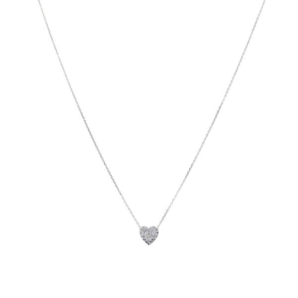 14k White Gold 0.25ctw Diamond Pave Heart Pendant Necklace