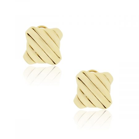 18k Yellow Gold Square Ribbed Earrings