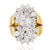 18k Two Tone Gold 4ctw Diamond Cluster Ring