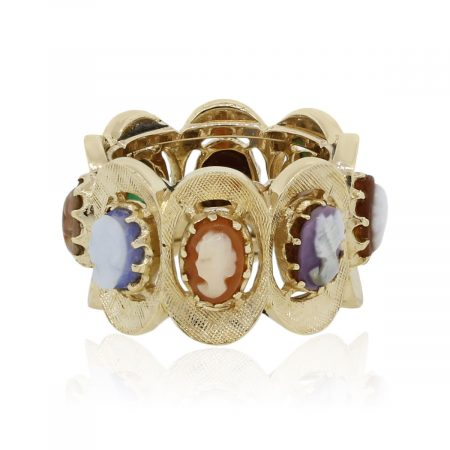 14k Yellow Gold Cameo Eternity Vintage Ring