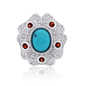 14k White Gold 1.35ctw Diamond Turquoise Garnet Vintage Ring