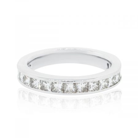 Platinum 0.64ctw Princess Cut Diamond Wedding Band