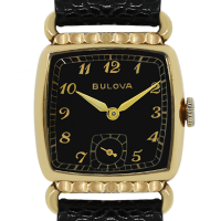 Bulova Gold Tone Black Dial Leather Watch
