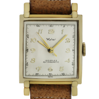 Wyler 10k Yellow Gold Filled Brown Leather Vintage Watch