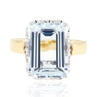 14k Two Tone Gold Aquamarine Ring