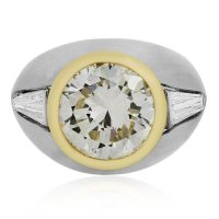 Platinum and 18k Yellow Gold 6.65ct Diamond Mens Ring