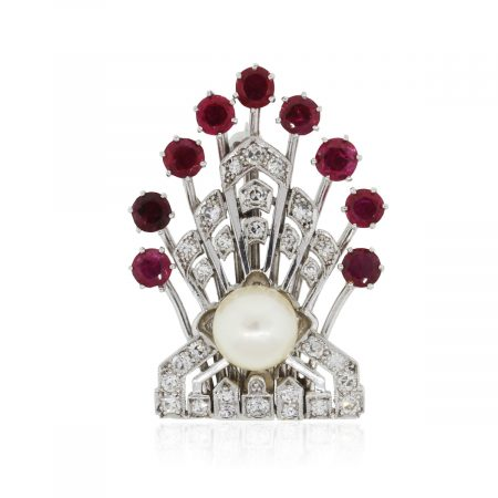 Platinum 0.40ctw Diamonds 1.50ctw Rubies and 7mm Pearl Pin