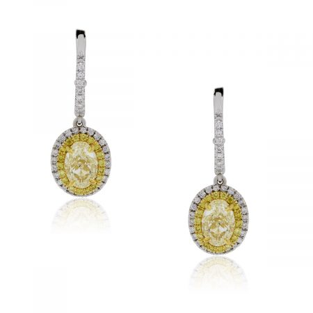 18k Two Tone 2.46ctw Diamond Drop Dangle Earrings