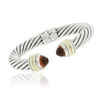 David Yurman Sterling Silver 14k Yellow Gold 9mm Citrine Bangle