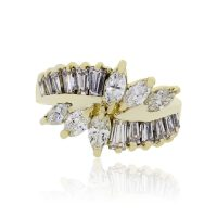 18k Yellow Gold 1.50ctw Marquise and Baguette Shape Diamond Ring