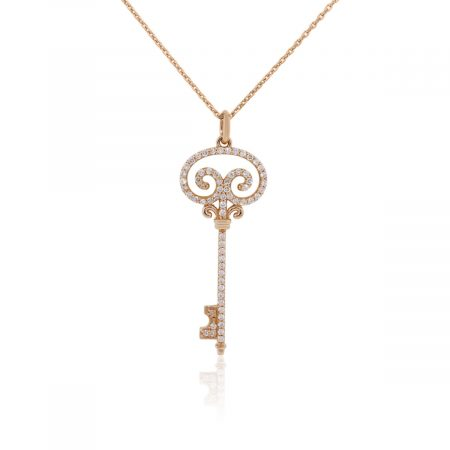 Chopard 18k Rose Gold 1ctw Diamond Key Pendant and Necklace