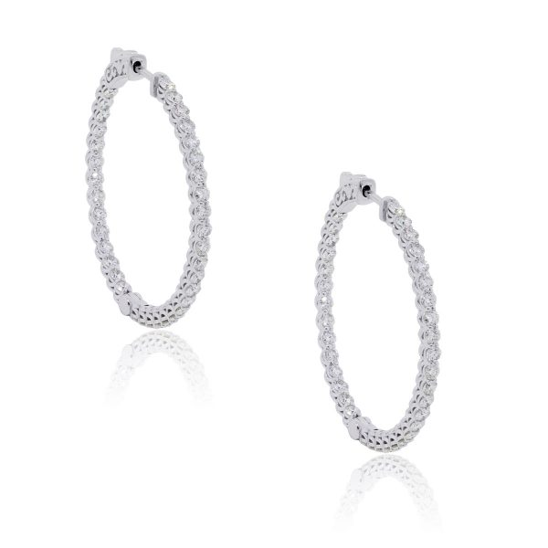 14k White Gold 2.25ctw Diamond Inside Out Hoop Earrings