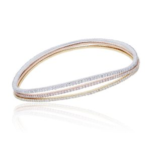 14k Tri Color 5.48ctw Diamond Wavy Bangle Bracelet