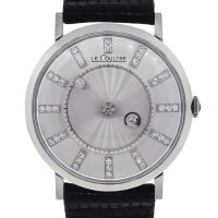 Jaeger LeCoultre 14k White Gold Mystery Dial Leather Watch