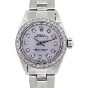 Rolex 6718 Oyster Perpetual MOP Diamond Dial and Bezel Ladies Watch