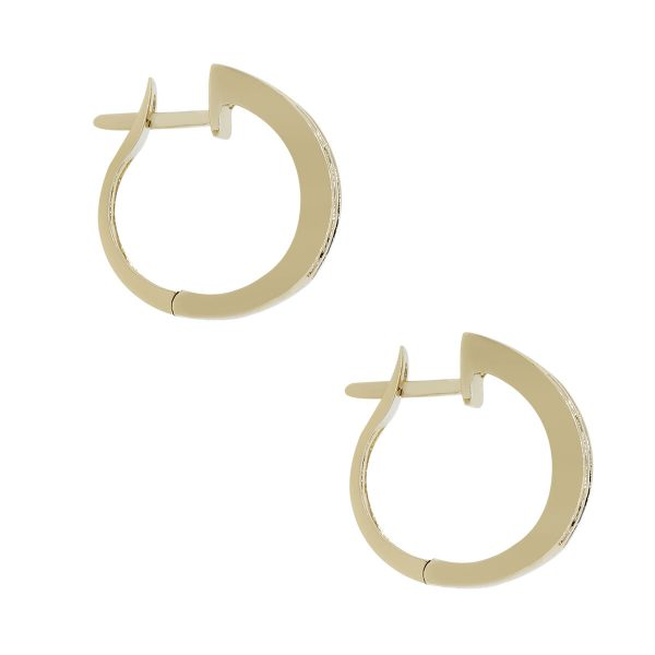 14k Yellow Gold 0.44ctw Diamond and 0.36ctw of Sapphire Huggie Earrings