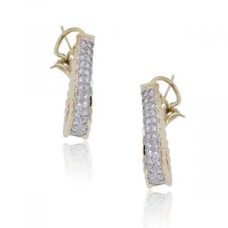 14k Yellow Gold 1ctw Diamond Outside Hoop Earrings