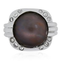 18k White Gold 0.15ctw Diamond and Tahitian Pearl Ring