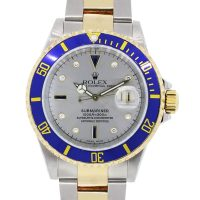 Rolex 16613 Submariner Silver Serti Dial Two Tone Watch