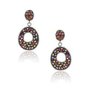 18k Black Rhodium Gold 2.50ctw Diamond and 16ctw Multi Color Sapphire Earrings