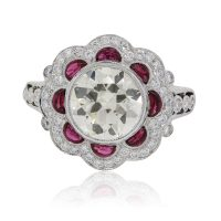 Platinum 3.50ctw Round Brilliant Diamond and Rubies Engagement Ring