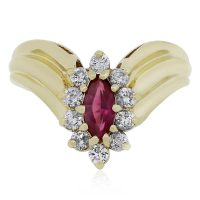14k Yellow Gold 0.40ctw Diamond and Ruby Ring
