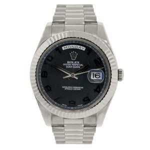 Rolex 218235 Day-Date II 18k White Gold Black Concentric Dial Watch