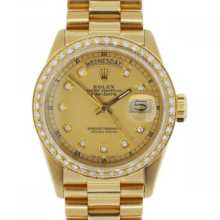 Rolex Day-Date 18038 Presidential Diamond Dial Diamond Bezel Gold Watch