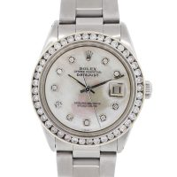 Rolex 1603 Datejust Mother of Pearl Diamond Dial and Bezel Watch