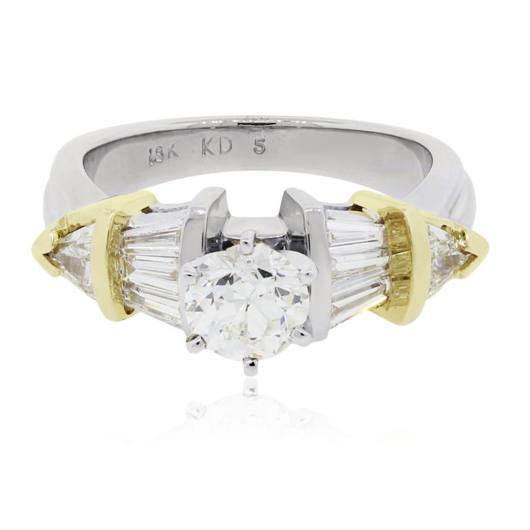 18k Two Tone Gold 1.37ctw Diamond Engagement Ring