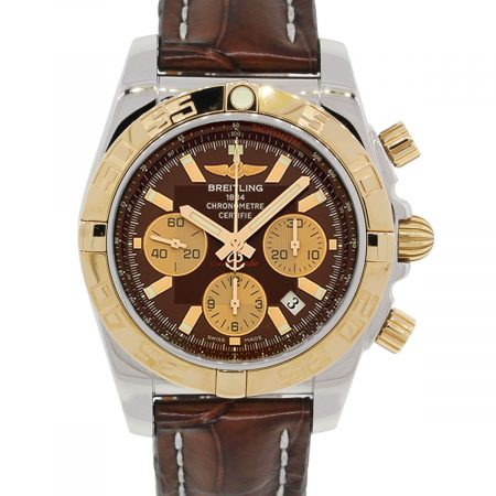 Breitling CB0110 Chronomat Rose Gold Bezel Brown Dial Steel Watch
