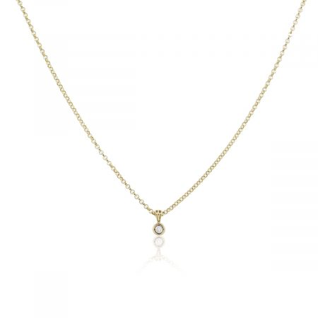 Yellow Gold 0.25ct Diamond Bezel Set Pendant on Chain