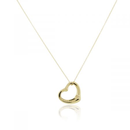 Tiffany & Co. 18k Yellow Gold Elsa Peretti Open Heart Pendant on Necklace