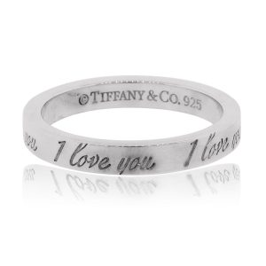 "Tiffany & Co. Sterling Silver ""I Love You"" Notes Collection Ring"