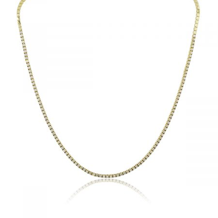 14k Yellow Gold 1.60ctw Diamond Tennis Necklace
