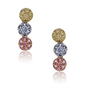 14k Multi Color Gold and Sapphire Dangle Earrings