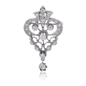 14k White Gold 0.50ctw Diamond Vintage Pin and Pendant