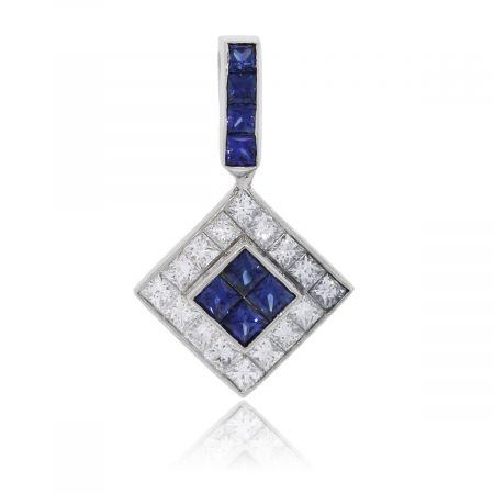 18k White Gold 0.64ctw Diamond and Invisible Set Sapphire Pendant
