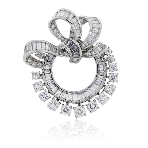 Platinum 4.75ctw Diamond Vintage Pin Brooch
