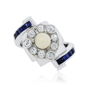 14k White Gold 0.20ctw Diamond Sapphire and 4mm Pearl Ring
