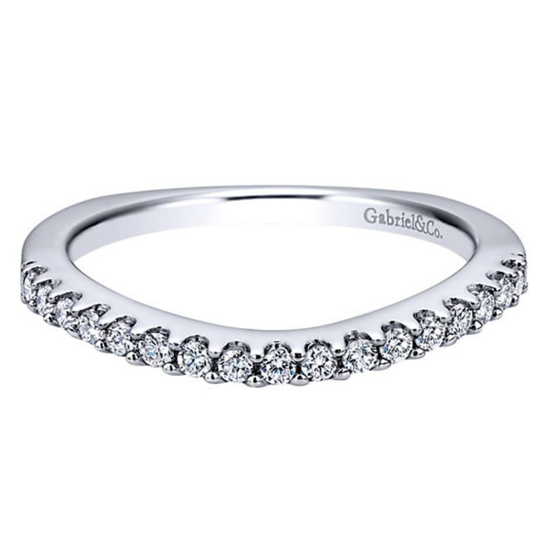 gabriel co 14k white gold diamond curved wedding band