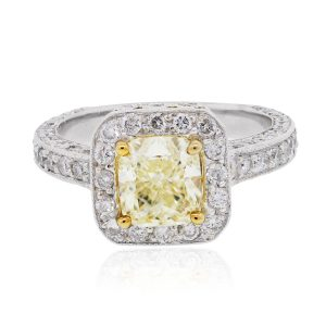 18k Two Tone 2.61ctw Diamond Halo Engagement Ring