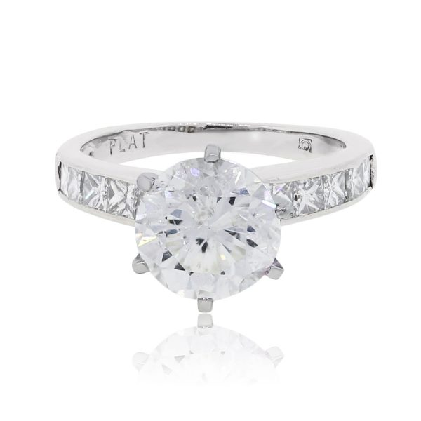 Platinum 2.37ct Round Brilliant 0.50ctw Princess Cut Diamond Ring