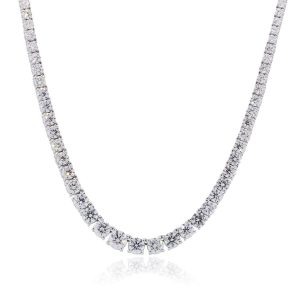 18k White Gold 26.60ctw Round Brilliant Diamond Graduated Necklace