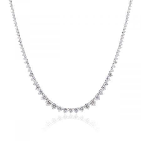 18k White Gold 8.66ctw Diamond Tennis Graduated Necklace